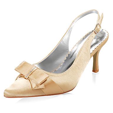 top satin de qualité supérieure talons mi pompes avec des chaussures de mariage bowknot / chaussures de mariée (0984-R-043)