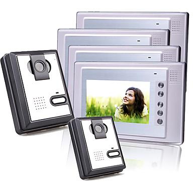 4 Alu 7-Zoll-TFT-LCD-Video-Türsprechanlage Intercom-System (2 Plastik-Kameras)
