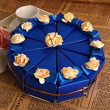 abordables Support de Cadeaux pour Invités-Pyramide Papier nacre Titulaire de Faveur avec Fleur Boîtes à cadeaux