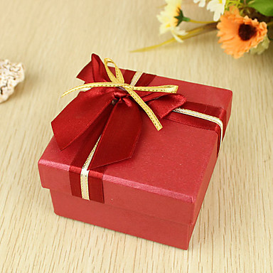Cuboid Pearl Paper Favor Holder with Ribbons Favor Boxes - 6