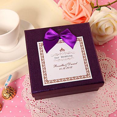 personalizada cuadrado morado caja de favor con lazo morado (juego de 24)