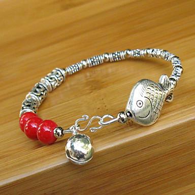 красный маленький серебряный колокольчик рыбы браслет
