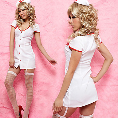 Hot Girl White Polyester Low-cut Nurse Suit (2 Pieces)