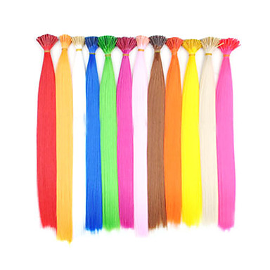 100 pezzi pre-incollati bastone punta estensioni dei capelli sintetici evidenziare - 12 colori disponibili