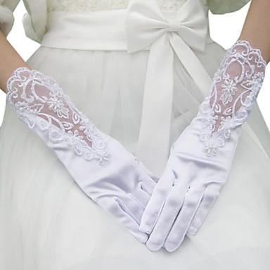 des gants de mariée en satin avec appliques / perles