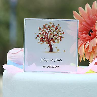 Kişiselleştirilmiş sonbahar ağaç baskı düğün pastası kaban