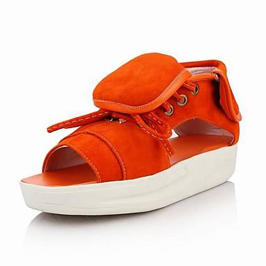 lær plattform sandaler med lisser (flere farger)