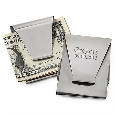 Groom Groomsman Stainless Steel Money Clips Wedding Anniversary Birthday