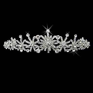 liga de prata de strass e pérola artística flor nupcial tiara