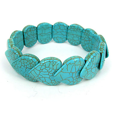 Heart-shaped Turquoise Elastic Ladies' Strand Bracelet