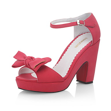 Leatherette Chunky Heel Sandals Party / Evening Shoes With Bowknot (More Colors)