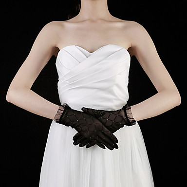 Spitze Baumwolle Handgelenk-Länge Handschuh Charme Stilvoll Brauthandschuhe Party / Abendhandschuhe With Stickerei Einfarbig