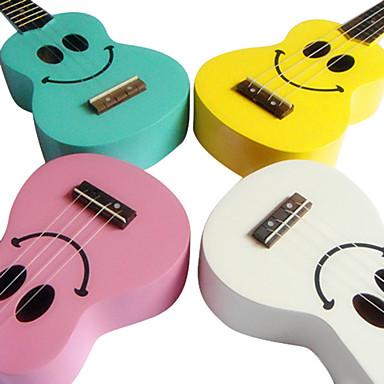 ukelele soprano basswood con funda (diseño de sonrisa, multicolor)