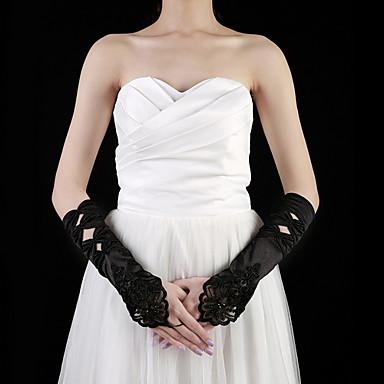 Satin Ellenbogen Länge Handschuh Party / Abendhandschuhe With Perlenstickerei