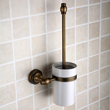 Toilet Brush Holder Removable Antique Brass 1 pc - Hotel bath