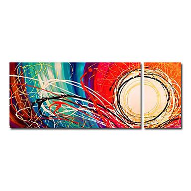 Hang-ζωγραφισμένα ελαιογραφία Ζωγραφισμένα στο χέρι - Αφηρημένο Σύγχρονο Καμβάς