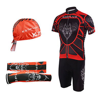 Kooplus Men's Short Sleeves Cycling Jersey with Bib Shorts Cartoon Bike Bib Shorts Jersey Clothing Suits, Quick Dry, Ultraviolet