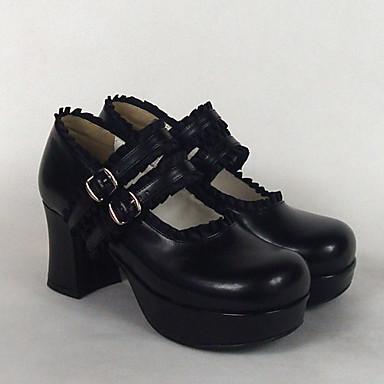Încălțăminte Clasic/Traditional Lolita Stil Lolita Clasic lolita Toc Înalt Încălțăminte Mată 7.5 CM Alb Negru Roz Pentru PU piele/Piele