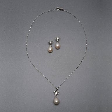 14k oro bianco rosa 10.5 - 11 millimetri aa fw collana di perle e orecchini set (xzz060)