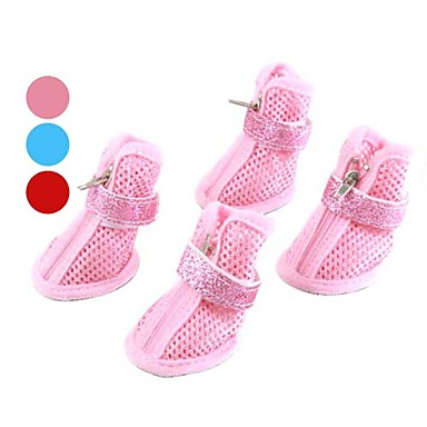 Dog Shoes & Boots Casual/Daily Winter / Spring/Fall Solid Red / Blue / Pink PU Leather