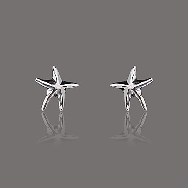 Gorgeous Silver Plate Polish Star Stud Earring