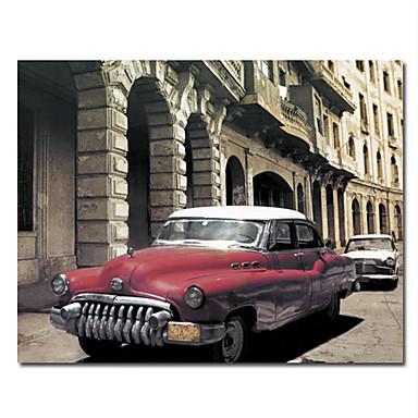 gedruckt Stadt und Auto Leinwandbilder mit gestreckten Rahmen