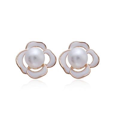 Plaqué or 18k élégant Fleur Boucles d'oreilles perles