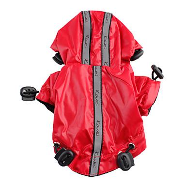 Perro Impermeable Ropa para Perro Un Color Negro / Rojo Nailon Disfraz Para mascotas Verano Hombre / Mujer A Prueba de Agua