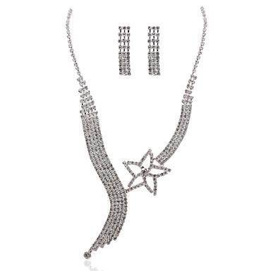 upea kirkas kristalli metallisella häät morsiamen kaulakoru ja korvakorut korusetti