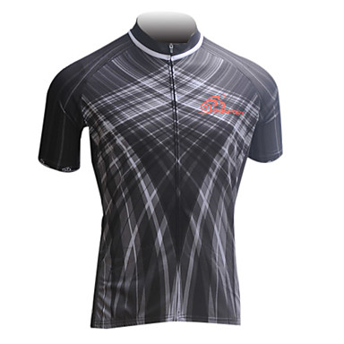OQsport- 100% Polyester Mens' Short-Sleeves Cycling Jersey with Black Abstract Pattern