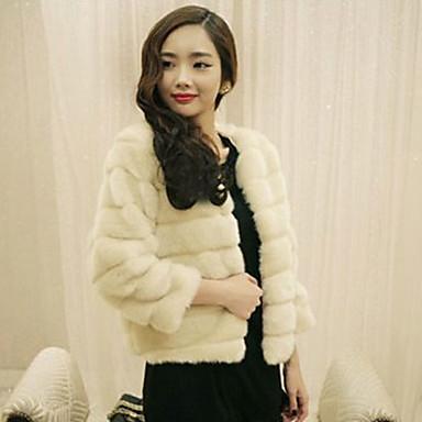 Long Sleeve Collarless Casual Faux Fur Jacket