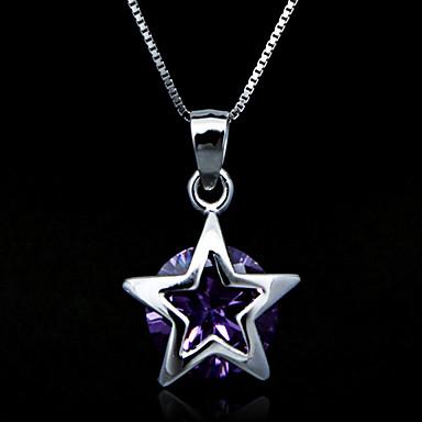 Fine Jewelry Elegant Star Amethyst Sterling Silver Necklace