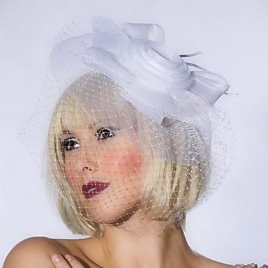 White Net With Flower Women's Fascinators