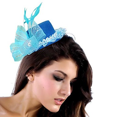 Enkel Blå Net / nylon med Feather kvinner fascinators