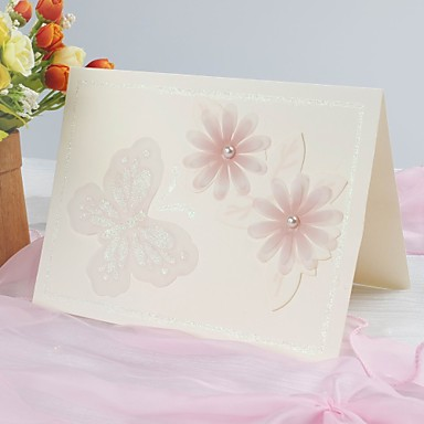 belle invitation florale de mariage de conception avec le papillon (lot de 50)