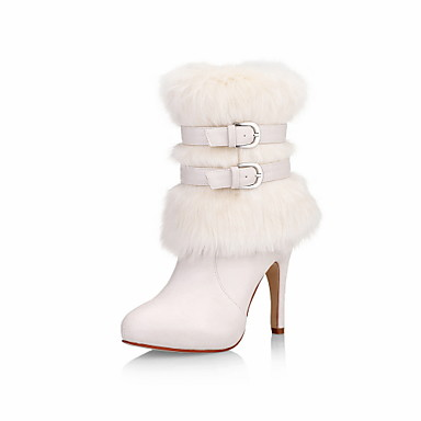 Fabulous Leatherette Stiletto Heel Ankle Boots With Fur Party / Evening Shoes (More Colors)