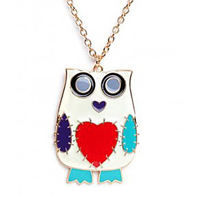 Women's Colorful Night Owl Pendant Necklace