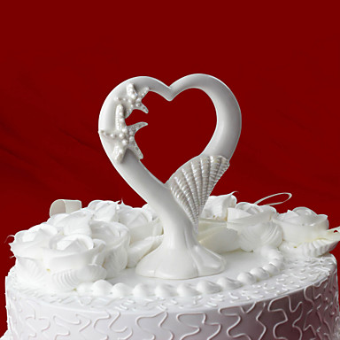 torta élén tengeri csillag& kagylókból kerámia szív tortát fedő