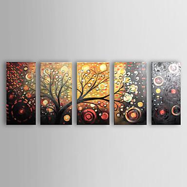Dipinta a mano Floreale/Botanical Cinque Pannelli Tela Hang-Dipinto ad olio For Decorazioni per la casa