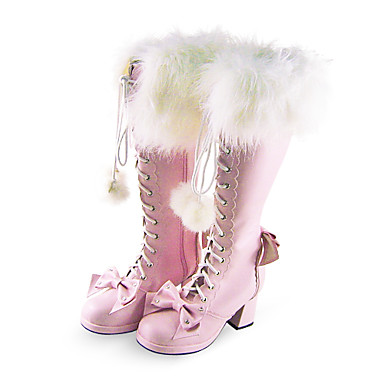 Handmade Cute Pink PU Leather Faxu Fur 6.3cm High Heel Doll's Lolita Boots