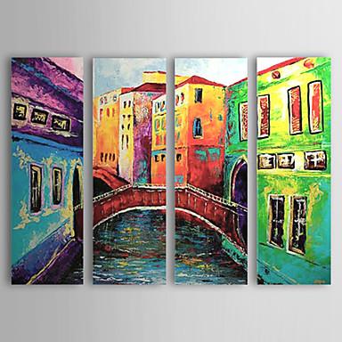 El-Boyalı Manzara Yatay Tuval Hang-Boyalı Yağlıboya Resim Ev dekorasyonu Dört Panelli