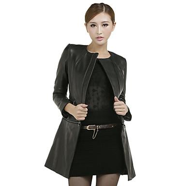 Charmant met lange mouwen kraag Casual Lambskin Leather Jacket