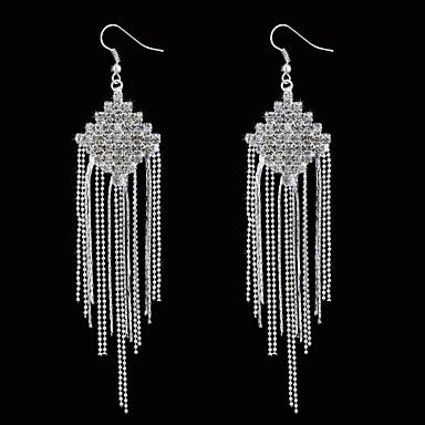 Lovely Alloy Tassels Design Crystal Drop Earrings