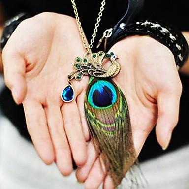 abordables Collier-Collier Pendentif Pendentif Collier Sautoir Femme Saphir synthétique Pas cher dames Simple Mode Indien Bronze Colliers Tendance Bijoux pour Quotidien
