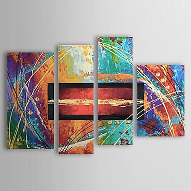 Ručně malované Abstraktní Jakýkoliv Shape Čtyři panely Plátno Hang-malované olejomalba For Home dekorace