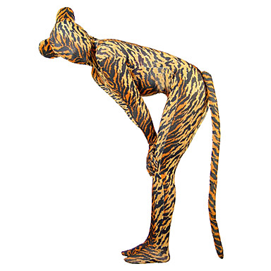 Kuvioidut Zentai asut Eläin Monsters Zentai Cosplay-asut Ruskea Yhtenäinen Tail Kissapuku Elastaani lycra Miesten Naisten Halloween Uusi vuosi