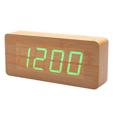 khaki dřevěné konstrukce zelená kontrolka ozdobného Stolní budík kalendář teploměr (100-240v/4xaa)