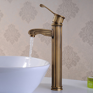 Traditional Vessel Brass Valve One Hole Single Handle One Hole Antique Brass, Bathroom Sink Faucet