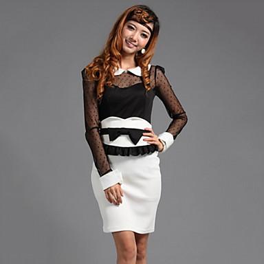 여성의 레이스 깎아 지른듯한 슬림 컷 블라우스 셔츠