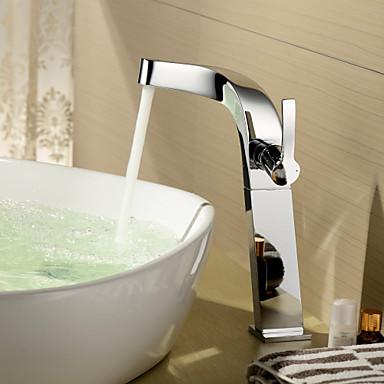 посыпать ® от LightInTheBox - одной ручкой латунь хромированная отделка ванной комнаты Centerset раковина кран (в высоту)